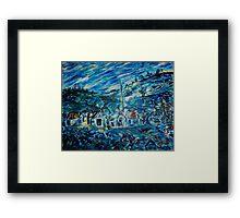 Village in Blue  Framed Print
