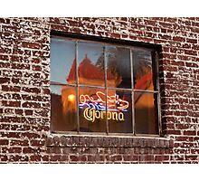Corona Neon Window Sign Photographic Print