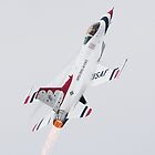 USAF Thunderbird pulling into vertical climb with afterburners lit by Greg Schneider