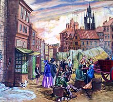 BIGG MARKET  NEWCASTLE ON TYNE  CIRCA 1800 by james thomas richardson