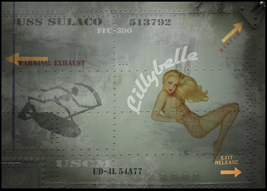 """USS Sulaco Dropship Pin Up Nose art """"Lillybelle"""" PRINT by cinemaphoto"""