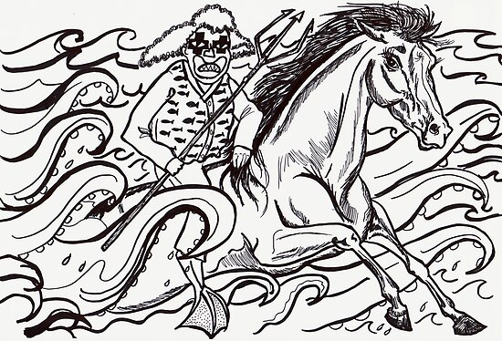 Ocean Clown Holds Aloft His Trident And Rides A Mighty Wave Horse by Fiona Lokot