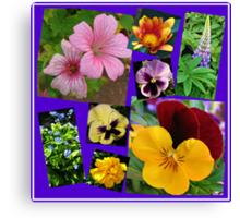 June Garden Flowers Collage Canvas Print