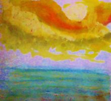 Lovely sunset over the ocean, watercolor by Anna  Lewis