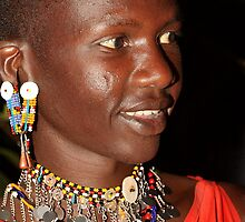 Portrait of a Young Moran, Maasai, or Masai, of Kenya & Tanzania  by Carole-Anne