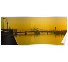 Dublin's Poolbeg Towers around Sunrise Poster