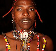 Portrait of a Maasai, or Masai, Moran of Kenya & Tanzania   by Carole-Anne