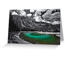 green cold mountain lake - selective colour Greeting Card