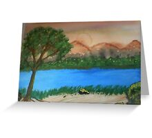 Countryside by the rivers path, watercolor Greeting Card