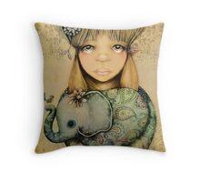 elephant child Throw Pillow
