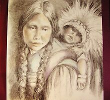 Young Native American Mother and Child by Jeri Nichols-Park
