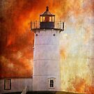 Red Sky At Morning - Nubble Lighthouse by Lois  Bryan