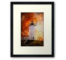 Red Sky At Morning - Nubble Lighthouse Framed Print