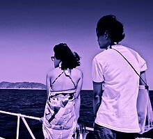 Japanese young couple tourists on ferryboat in Thailand by ingojez