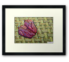 341 - CUDDLY BUNNIES - DAVE EDWARDS - COLOURED PENCILS & FINELINERS - 2011 Framed Print
