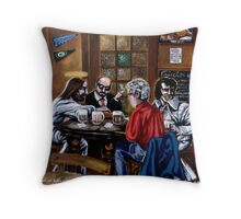 'Elvis & Jesus at the Sports Bar' Throw Pillow