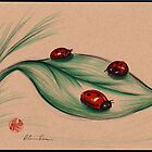 RED LADIES - Original ladybug prisma pencil drawing by Rebecca Rees