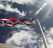 Flag at USS Arizona with a little sun flare by tandj
