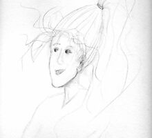 sketch of a woman with windswept hair and long ponytail by Dawna Morton