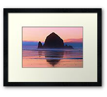 Summer Sunset at Haystack Rock Framed Print