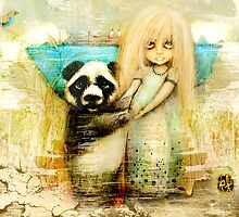 Panda and Snowdrop by © Karin  Taylor