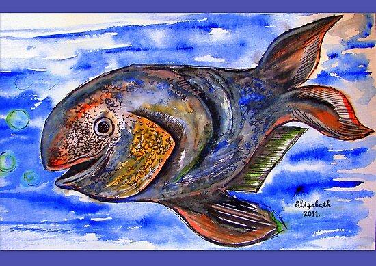 A gouache fish in blue water by Elizabeth Kendall