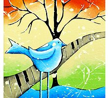 Bluebird Whimsical Folk Wall Art by hjmart