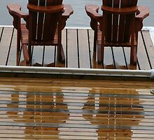 Muskoka Chairs Reflection - Lake Muskoka by Carolyn  Reinhart
