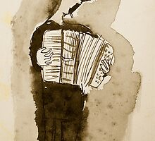 accordian player by Loui  Jover