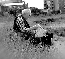 Reading newspaper (scotish pensioner) by ulryka