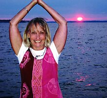 Sharmila Beach Yoga at Sunset by Rick Gold