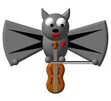 Cute vampire bat playing the violin by Rose Santuci-Sofranko
