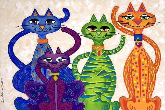 'High Street Cats' - a little bit Posh! (larger version) by Lisa Frances Judd~QuirkyHappyArt