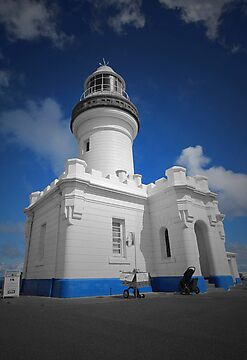 Byron Bay Lighthouse - Black, white & blue by Benjamin Whealing