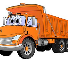 Orange Dump Truck Cartoon by Graphxpro