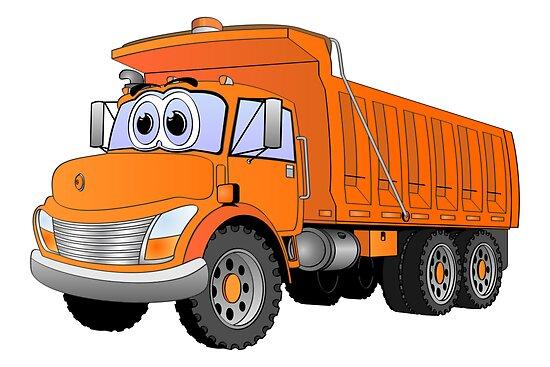Orange Dump Truck Cartoon by Graphxpro