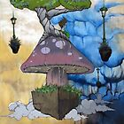Floating Fungus - Acrylic on Canvas by jakDezign .