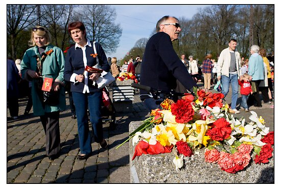 Flowers at the Monument 2, May 9 (Victory Day) 2011, Rīga, Latvia.  (2011) by Madeleine Marx-Bentley