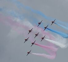 Swooping - Red Arrows - Goodwood 11 by JohnBuchanan