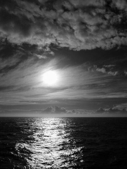 Ocean Sunset in Black & White by Lucinda Walter