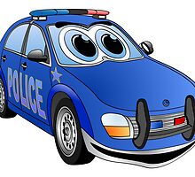 Police Blue Car Cartoon by Graphxpro