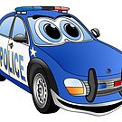 Police Blue White Car Cartoon by Graphxpro