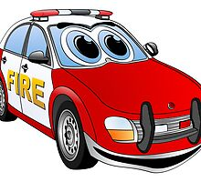Fire Department Car Cartoon by Graphxpro