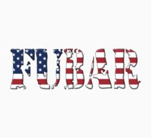 FUBAR - USA flag, black outline. by MadTogger