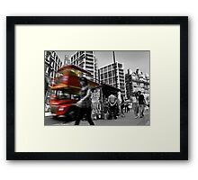 """Big Red Bus, London"" Framed Print"