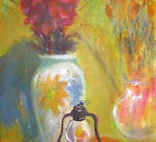 red flower old lamp - original painting by natalyborissov