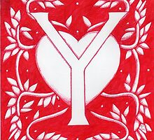 Red Heart Letter Y by Donnahuntriss