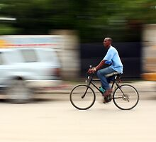 Riding Through Port au Prince by Kent Nickell