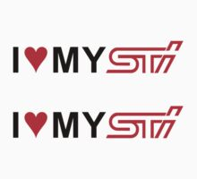 (2) I Love my STI Decal by avdesigns