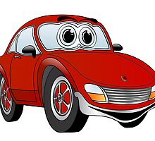 Red Sports Car Cartoon by Graphxpro
